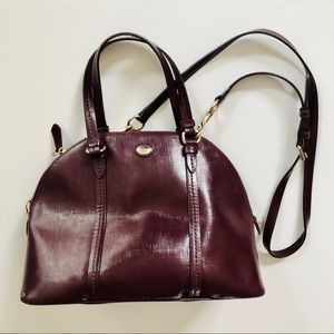 Coach burgundy structured shoulder bag